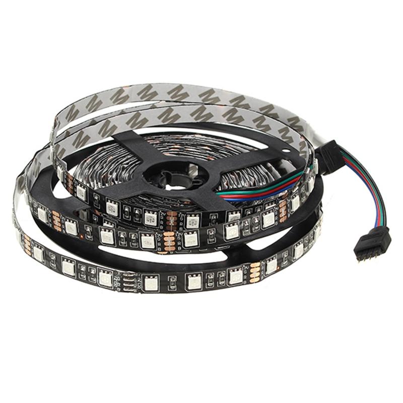 5M 72W Black PCB SMD 5050 Non-Waterproof RGB 300 LED Strip Light 12V DC Lamp Decor Lighting