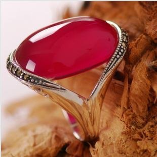 925 the intime silver ring red corundum of female money to restore ancient ways large elliptical ring