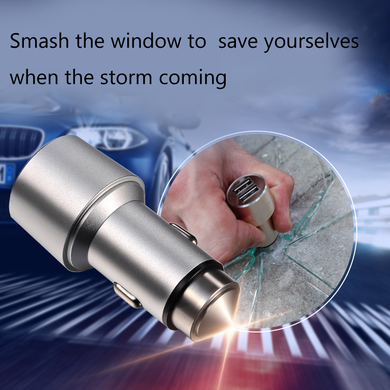 1Pcs Dual Port Safe Car Charger (Smashing Windows Tool) for iphone 5 5s 6 6 plus for Samsung Galaxy S4 S3 USB Adapter Plug(China (Mainland))