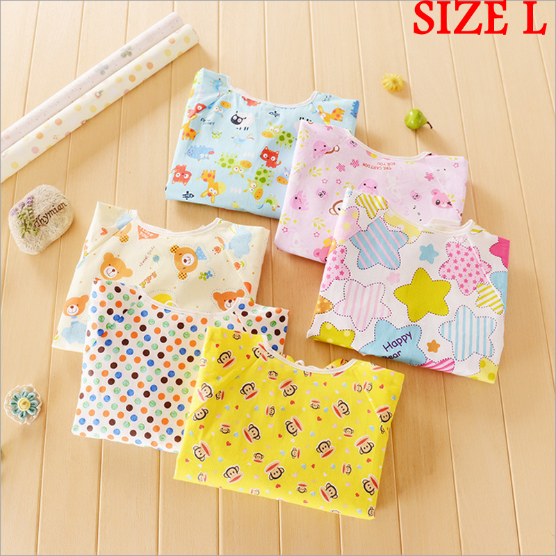 SIZE L 48*42cm Baby Waterproof bibs Calico cotton Bibs Cartoon Long Sleeve apron clothes LJY103(China (Mainland))