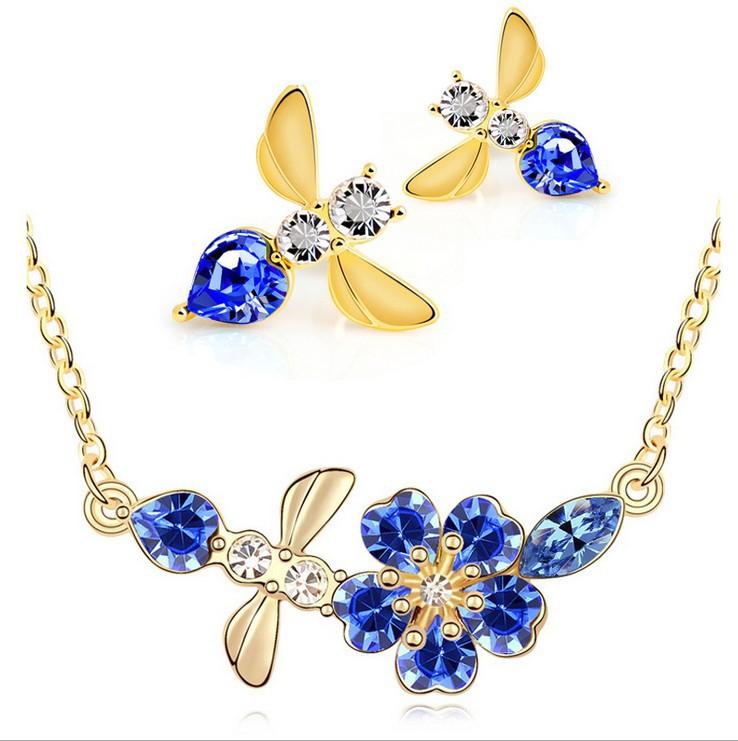 Free Shipping Crystal Jewelry Set Imitation Diamond Pendant Necklace Rhinestone Stud Earrings Cherry Bee Women Accessories(China (Mainland))