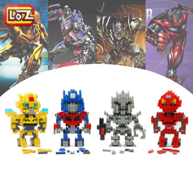 Transhapes Robots 4pcs/lot LOZ Diamond Blocks Toy Building Blocks Sets Educational Bricks Toys(China (Mainland))