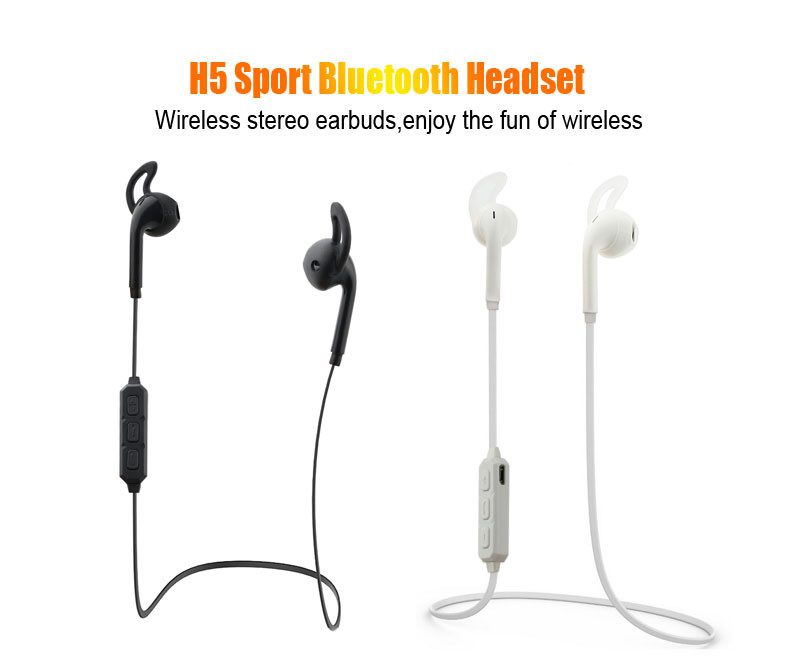 Newest H5 Bluetooth Headset Wireless Earphone Headset Bluetooth Earpiece Sport Running Stereo Earbuds With Microphone wholesale