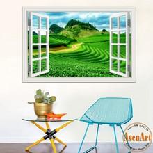 Buy 3d Window Decal Wall Sticker Green Tea Garden Beautiful Landscape Wallpapers PVC Vinyl Sticker Mural Art Home Decor for $5.51 in AliExpress store