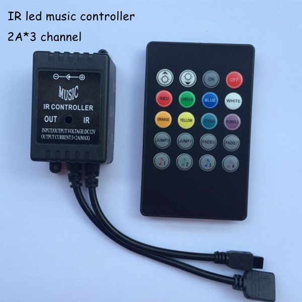 1pcs dc12v 3 channel ir 6a 20 key Common anode rgb led music remote controller box to control led strip 3528 and 5050 light(China (Mainland))