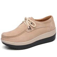 2019 Lente Vrouwen Flats Schoenen Suède Slip Op Platform Sneakers Casual Schoenen Vrouwen Mocassins Lace Up Platte Oxfords Klimplanten(China)