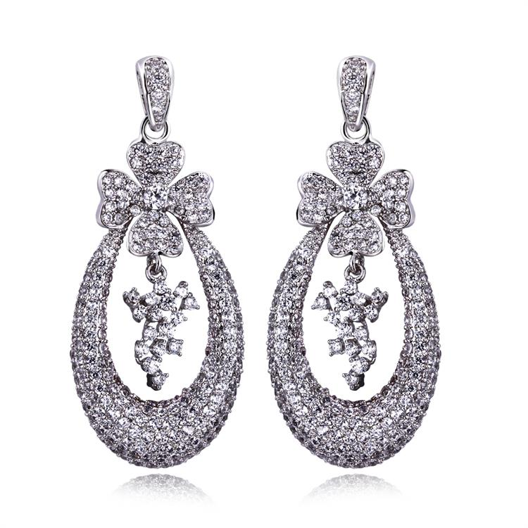 Mansaku Deluxe CZ Dangle Earrings Lead Free 18K Gold & Platinum Plated Cubic Zirconia Silver Pins Bridal Wedding Drop Earring(China (Mainland))