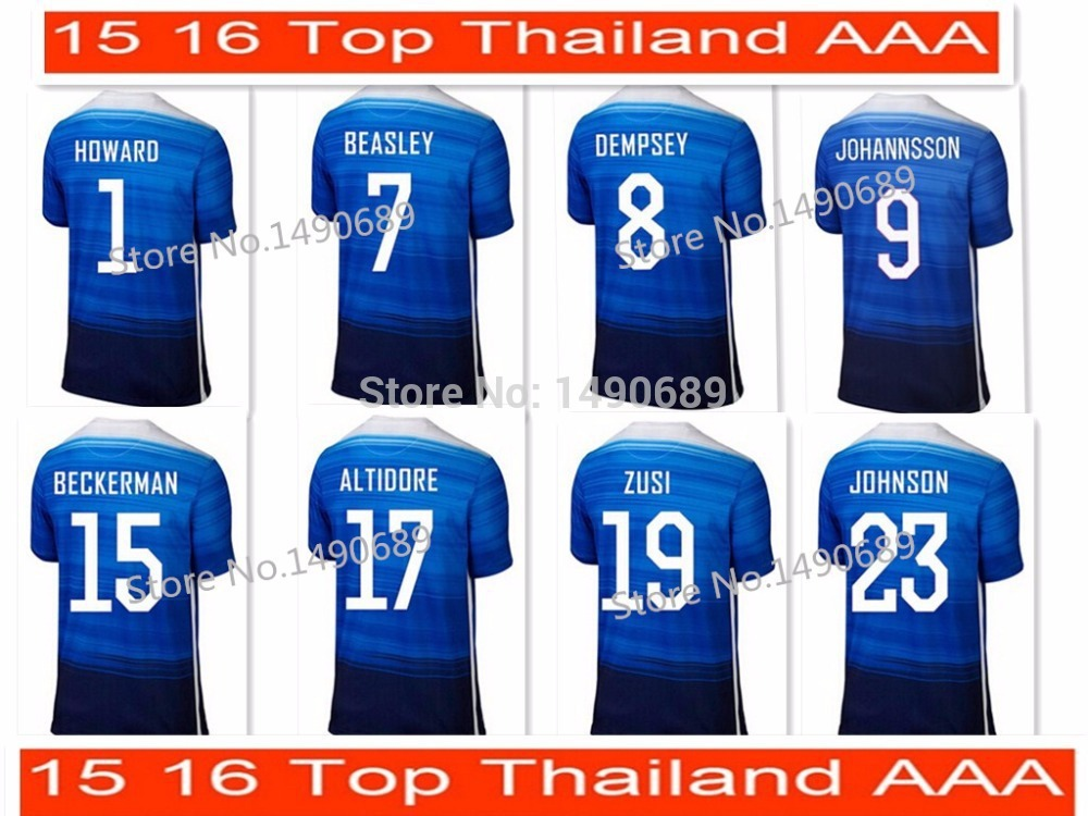 Top Thai Newest 2015-2016 Usa Away Soccer Jersey Futbol Camisa 15 16 Football Shirt Kit Camisetas Free Shipping(China (Mainland))