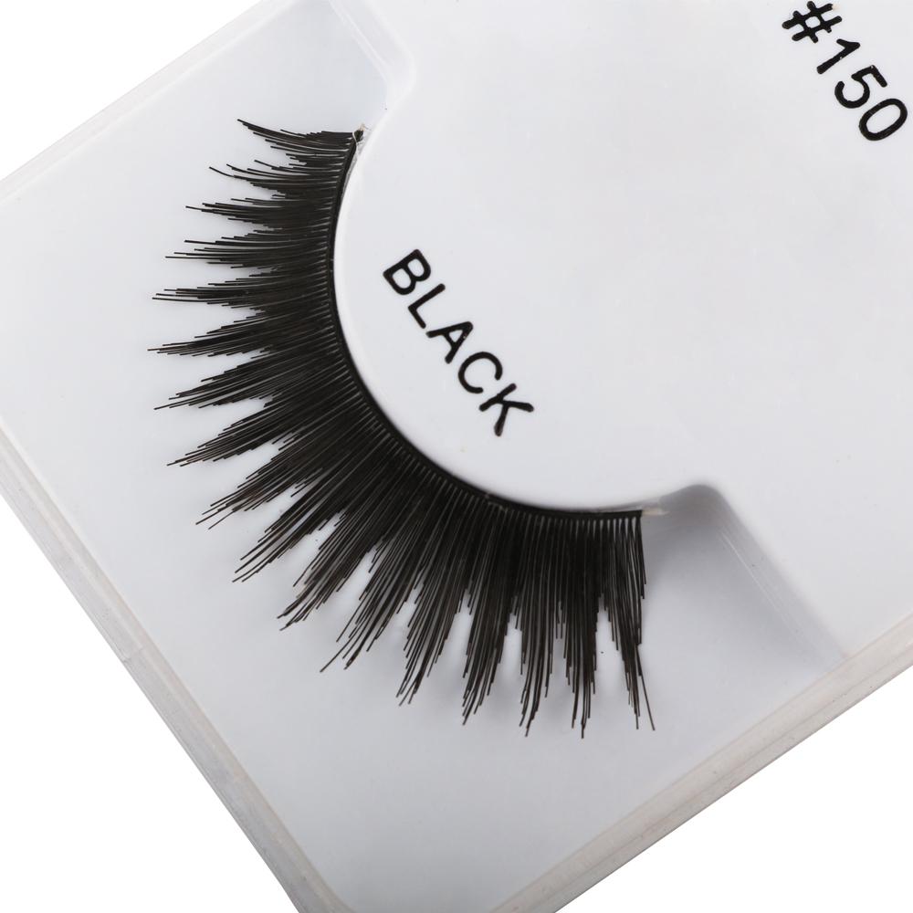 1 Pair Handmade Soft Human Hair Black Long Cross Thick Curl False Eyelashes Extension Full Strip Pro Fake Eye Lashes Makeup Tool