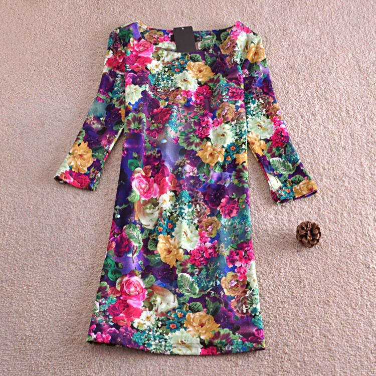 Free Shipping Wholesale 2015 Women's New Fall Color Printing Bottoming Slim Sleeve Dress(China (Mainland))
