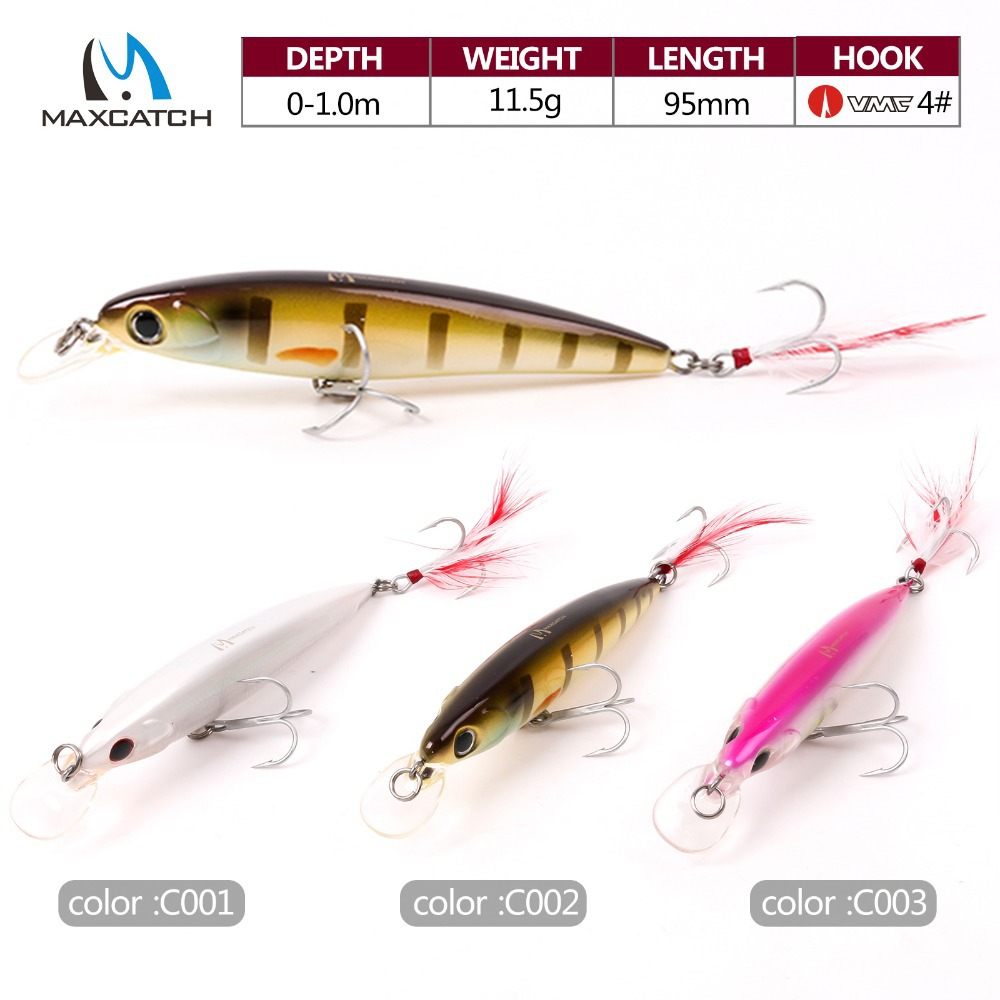 Maxcatch 3 Pcs Minnow Bass Fishing Lures Crankbait Minnow Fishing Lures With VMC Hooks and Feather(China (Mainland))