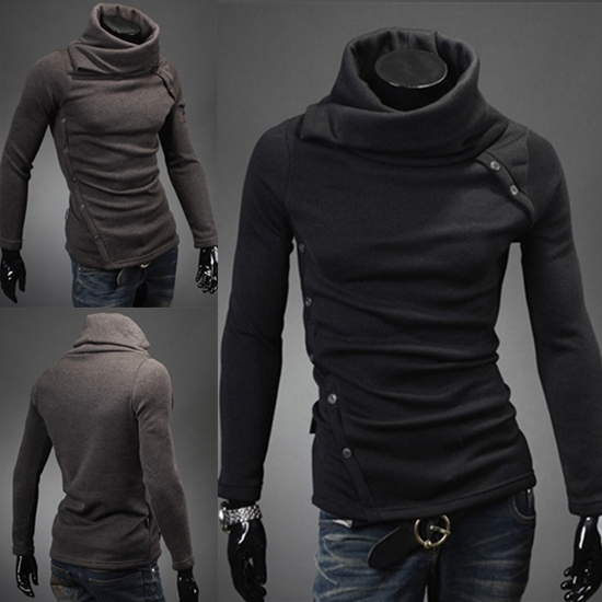 AIRMAIL high quality men's Specially designed pile collar long-sleeved sweater, 2 color options, Size M-XXL new 2014(China (Mainland))