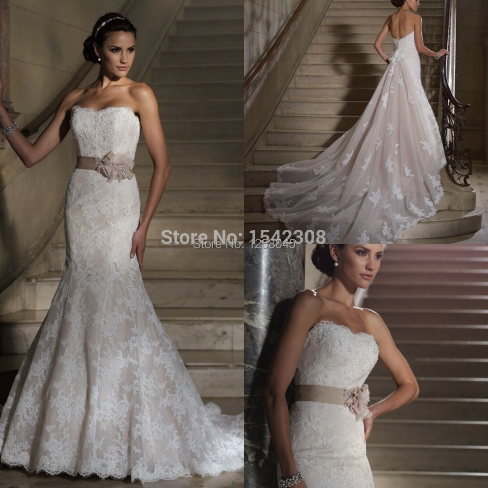 Free shippingfamous designer strapless lace mermaid long for Strapless wedding dresses with long trains