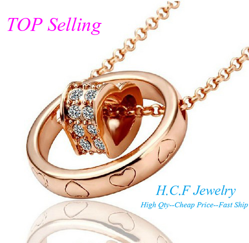2015 New Gifts Fashion Crystal Jewelry Color Mixed Heart Accessories Pendant Couples Rose Gold Love Christmas Gift Free Shipping(China (Mainland))