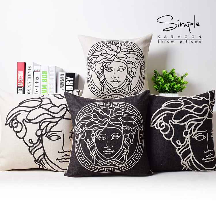 Free Shipping Wholesaler 100% New Pillow Cover European Fashion LOGO Office Nap Taste Simple Cotton Sofa Cushion Cover Good(China (Mainland))
