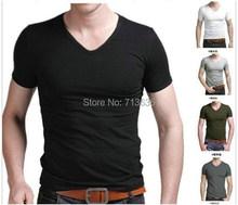 AliExpress |Entrega gratuita camisetas hombre nuevo 2014 con cuello en v t camisa de los hombres de moda estilo S-XXXL
