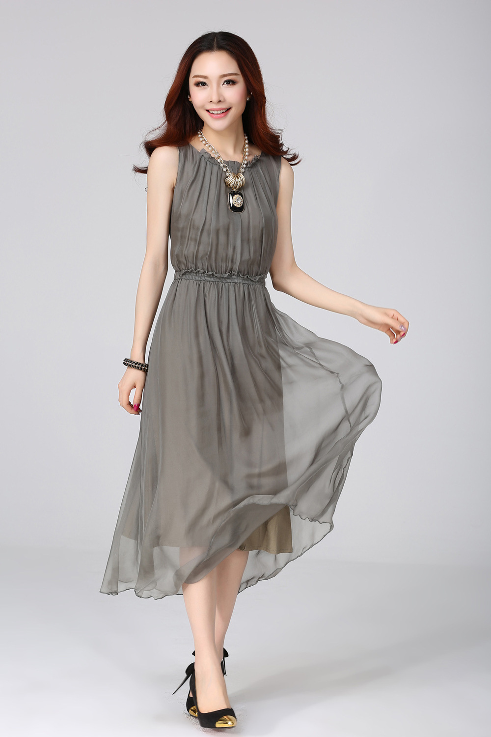 2015 summer new s silk dress silk pleated dress