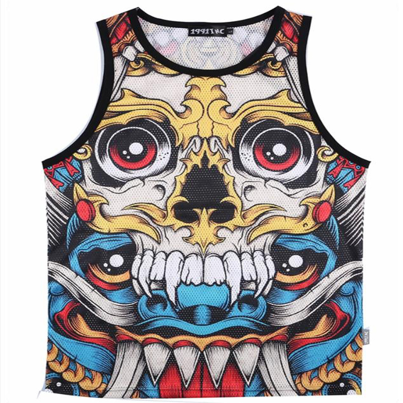 2015 summer new large size 3D printing dual network layer mesh vest male and fancy basketball T-Shirts M-XXL(China (Mainland))