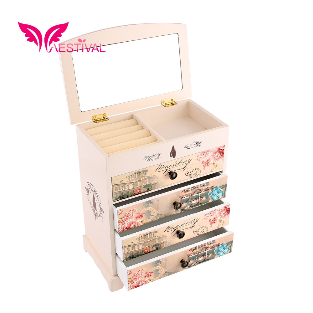 2015 New Arrival, Jewelry Brand Butterfly Flower Pattern Wooden Large Jewelry Box Gift with Fashion Paper Overlay Free Shipping(China (Mainland))