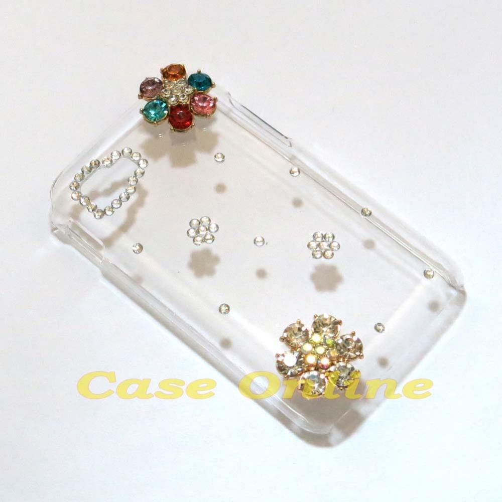 New fashion Cute 3D Bling Pearls Rhinestone Flower Hard back case LG Optimus L4 II Tri E470 L4-II -Tri