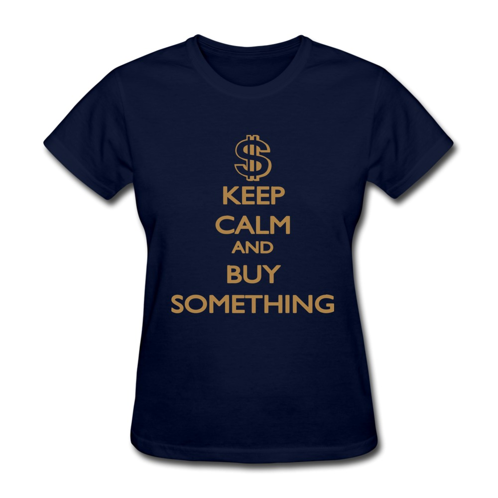 2015 Promotion Keep Calm and buy something women t shirt Plus Size Short Sleeve 100% Cotton 3D T Shirts(China (Mainland))