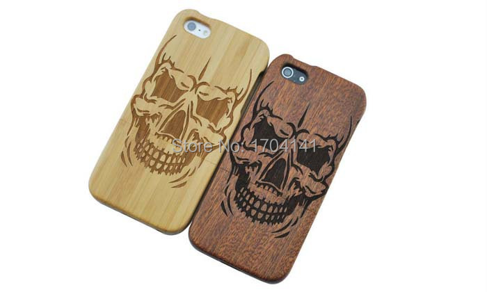 New Engraved With Skull Camera Pattern Wooden Cell Phones Cases 6 Styles Cover Case For Iphone 5S 5G(China (Mainland))