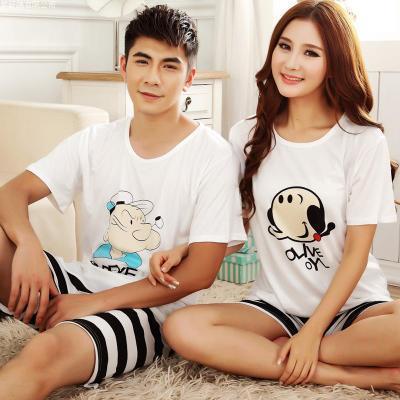 Free shipping 2015 cute cartoon short sleeve cotton pajamas women men Pajama Set t-shirt + shorts lovers sleepwear Home Wear(China (Mainland))