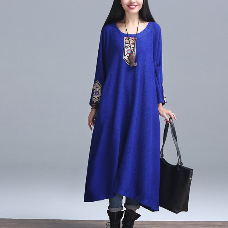Spring 2016 Cotton Fashion originality Design Brand Dresses Vintage Embroidery Loose Casual long sleeve Maxi Dress Top Quality(China (Mainland))