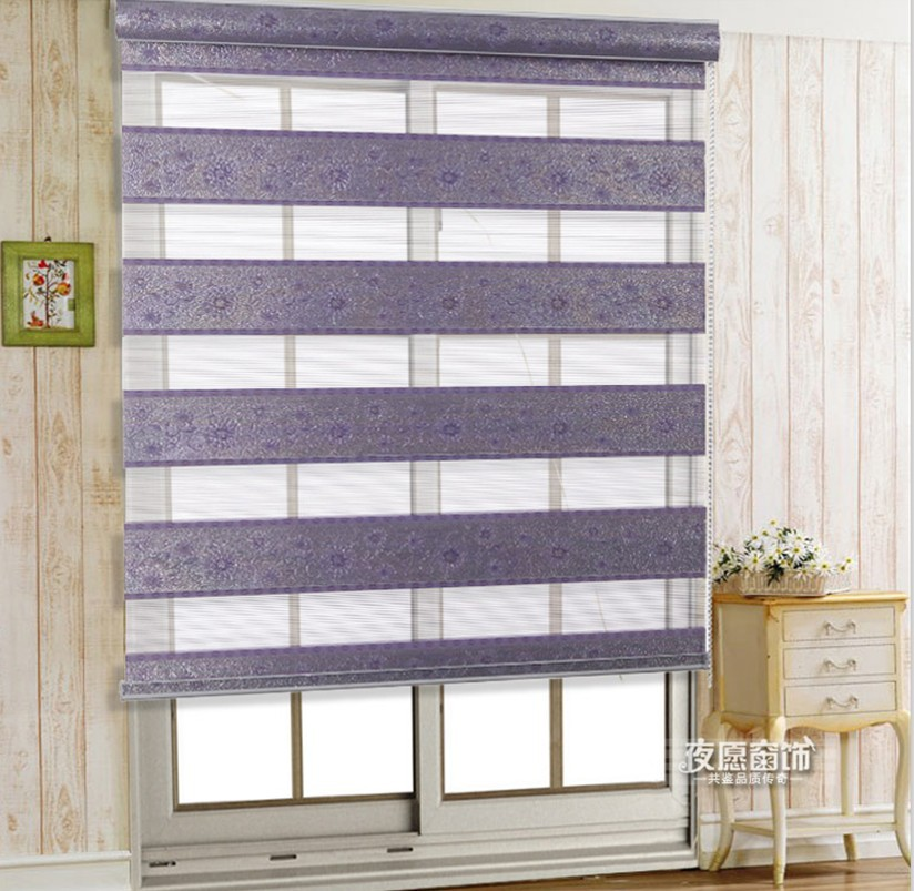Home Decor Curtains For Windows Double Layer Shade Roller Blind Jacquard Zebr