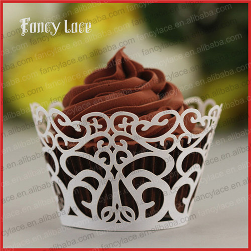 60PCS Birthday Party Decorations Laser Cut Cupcake Wrappers,Flower Wreath Wedding Party Paper Liners Handmade Crafts Decor(China (Mainland))