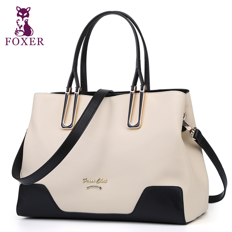 Foxer genuine leather bag women shoulder handbags fashion Patchwork tote new designer wristlets for ladies messenger bags(China (Mainland))