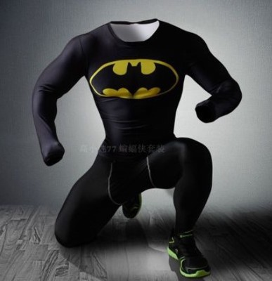 Mens Batman Armour Compression Dry Quick Tights Men Thermal Top Tee Shirts Sports Running T shirt Fitness Gym Clothes - big fashion store
