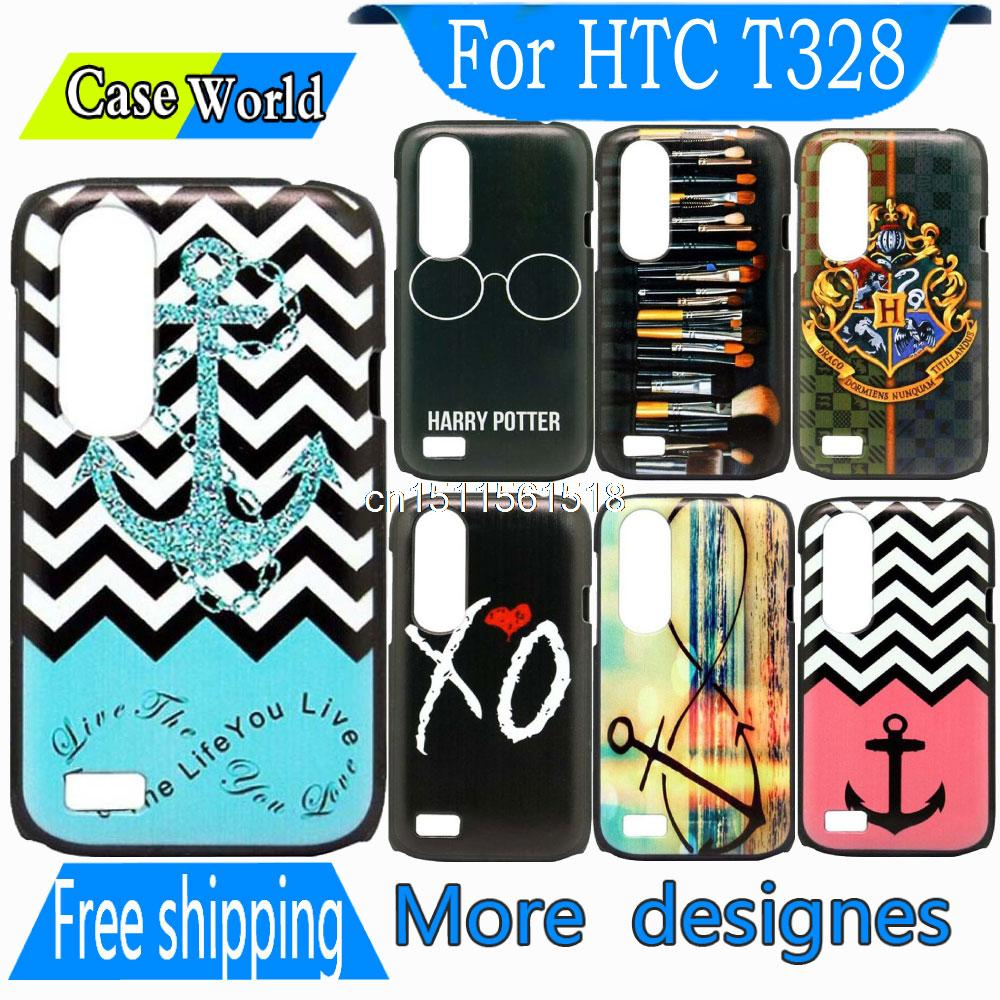 Brand New Elegant Cute Blue Waves Stripe Anchor Pattern Hard back Mobile Phone Snap Cover Case For HTC Desire V/X T328 W/E(China (Mainland))