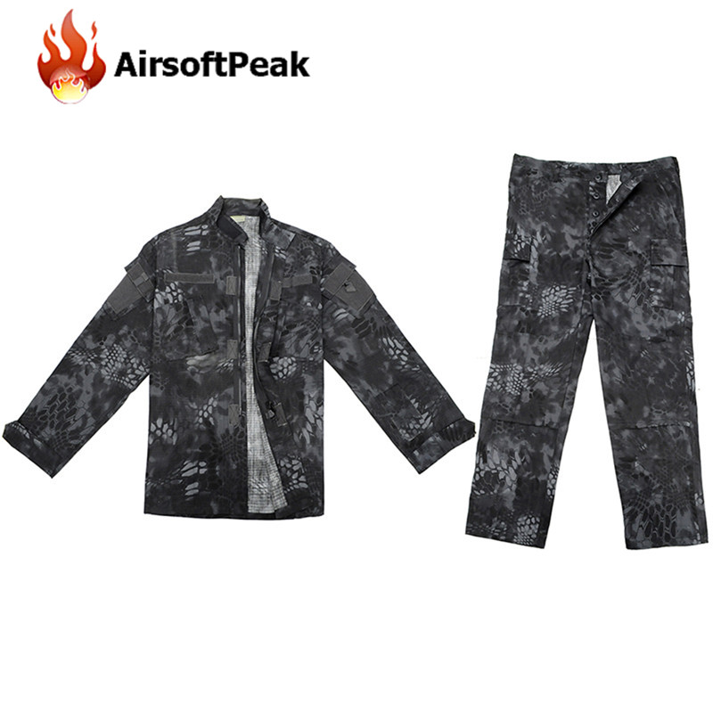 Men's BK Typhon Zipper Jacket Long Cargo Pant Combat Paintball Airsoft Ghillie Suit Military Tactical Training Uniform Set