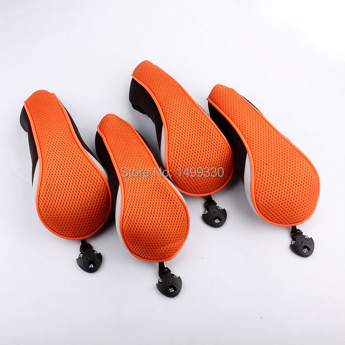Free Shipping Set Of 4 Pieces Black&Orange Mesh Material Golf Hybrid Headcover UT Utility Golf Head Cover Ultra Llight Weight(China (Mainland))