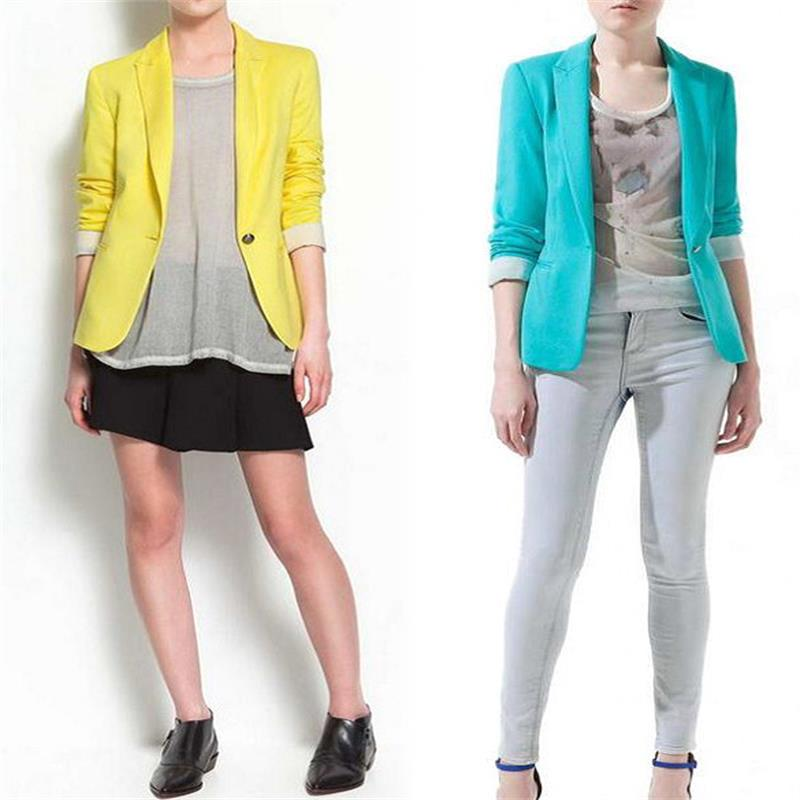 Hot Blazer Women New 2016 Candy Color Jackets Suit Slim yards Ladies Blazers Work Wear Jacket(China (Mainland))