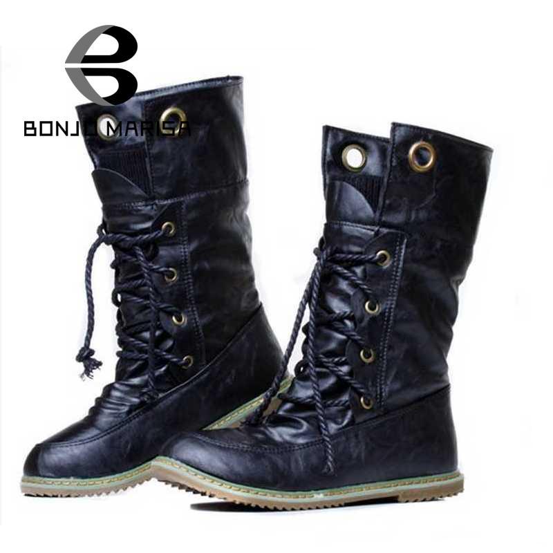 BONJOMARISA Big size 34-43 Fashion Women Boots Flat Heel Platform Shoes Keep Warm Fur Shoes Woman Mid-calf Snow Fur Boots(China (Mainland))