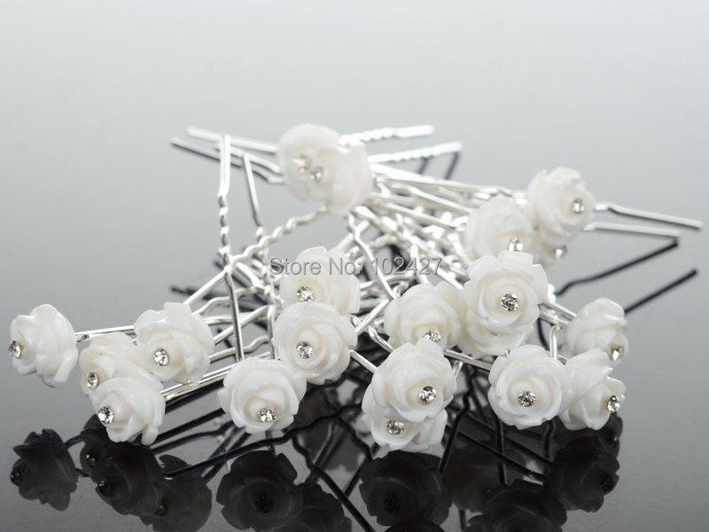 New Fashion 20Pcs Wedding Bridal Crystal White Rose Flower Hairpins U Shape Hair Pins Hair Accessories