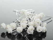 New Fashion 20Pcs Wedding Bridal Crystal White Rose Flower Hairpins U Shape Hair Pins Hair Accessories for Women Jewelry Bulks