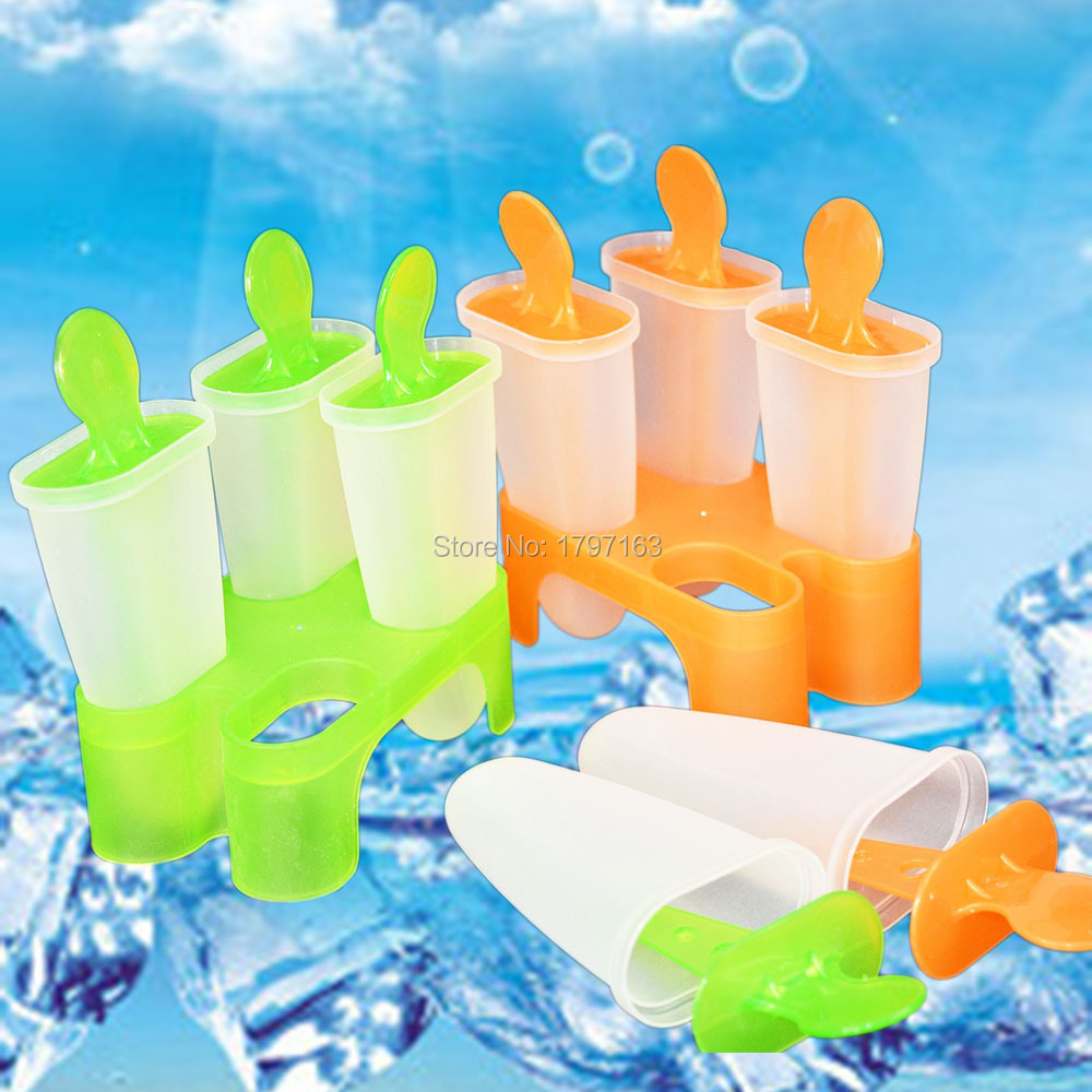 Making Popsicles Frozen 4 Cell Form for Ice Cream Pop Mold Lolly Mould Tray Pan Kitchen DIY(China (Mainland))