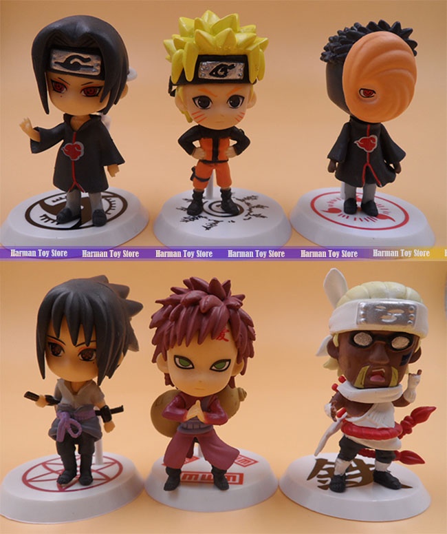 Wholesale price 2set/lot 7cm PVC Naruto action figure set Q Edition Toy Collection Naruto japanese anime figures Model toy Set(China (Mainland))