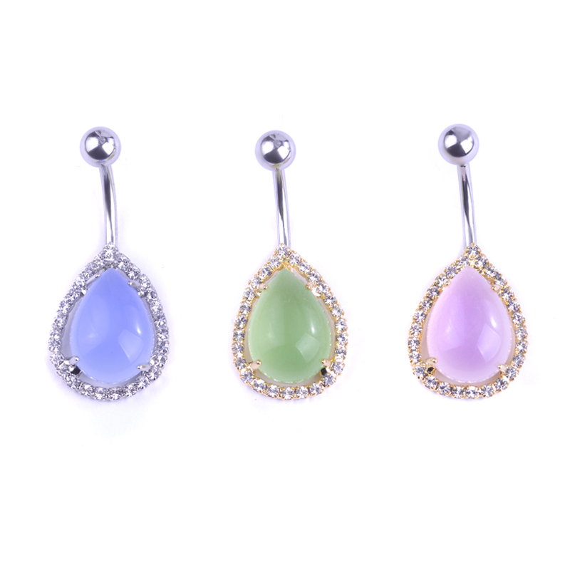 Body Piercing Jewelry Transparent Water Drop Gem Piercings Light Blue Navel Belly Button Rings Professional Umbigo Joias Grillz(China (Mainland))