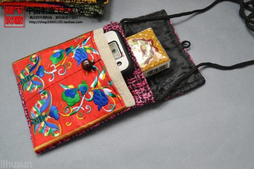 Wholesale10PCS HANDMADE Ethnic retro FLAX EMBROIDER PHONE POUCHE Cell Phone Case(China (Mainland))