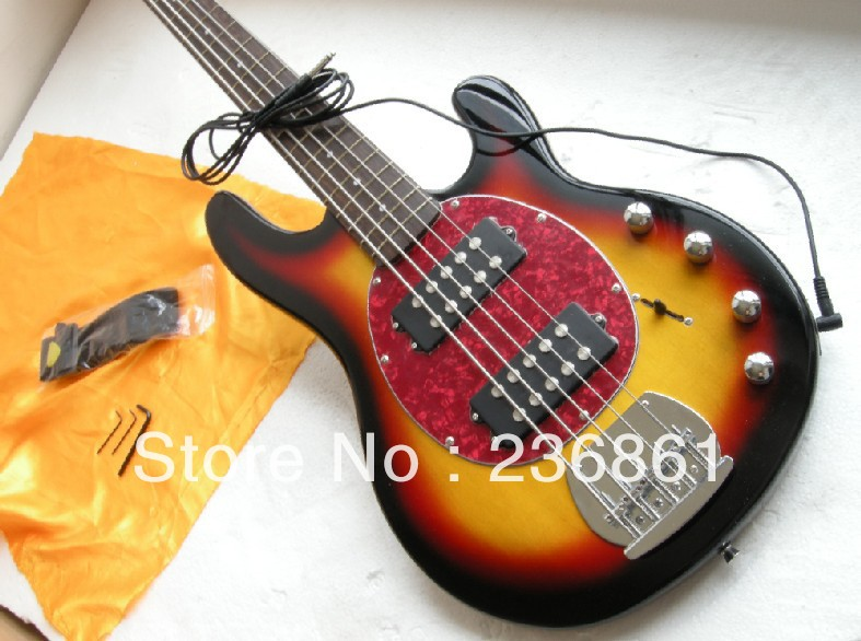 New style Arrival Music Man StingRay Ernie ball 5 string bass sunburst bass guitar electric lowest price best quality(China (Mainland))