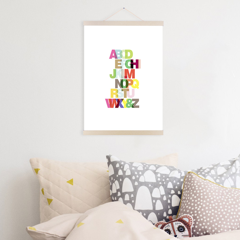 Colorful alphabet modern typography minimalist letter pop poster prints a3 a4 canvas painting kids room wall