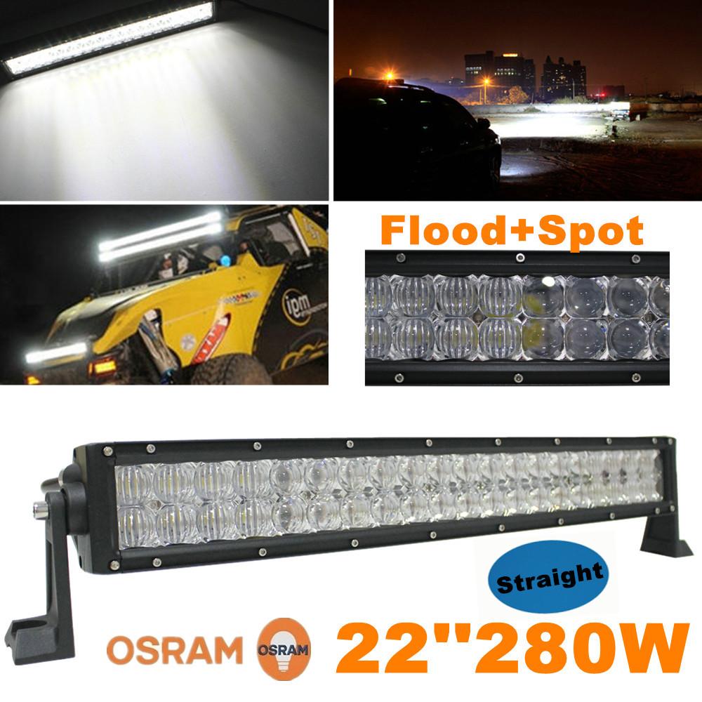"280W 22"" LED Light Bar OSRAM 5D Reflector + Lens Car Truck 4x4 Offroad Works Driving Fog Lamp Spot + Flood Combo Beam 22inch SUV(China (Mainland))"