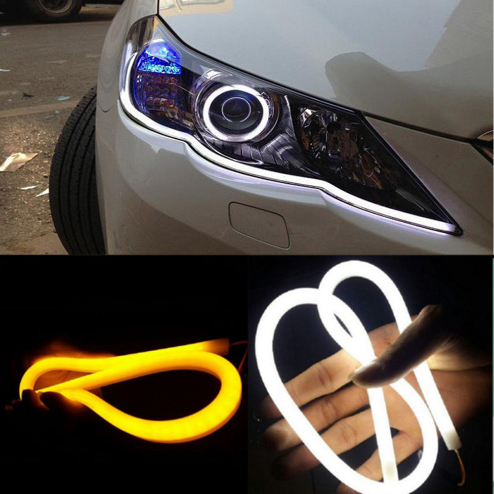 2pcs 60cm DRL Flexible LED Tube Strip Style Daytime Running Lights Tear Strip Car Headlight Turn Signal Light Parking Lamps(China (Mainland))