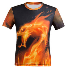 Hot Fire Dragon 3D Print T-shirt Monster Unisex Tee Shirts Plus Size Short Sleeve Neon Dragon Homme Loose Tops