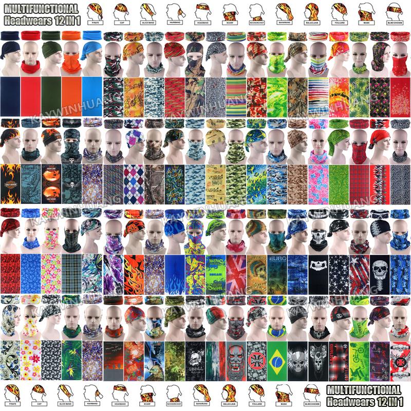 10 шт. смешанные цвета мода дышащая микрофибра трубчатые череп маска открытый бесшовные бандана велоспорт многофункциональный головной убор
