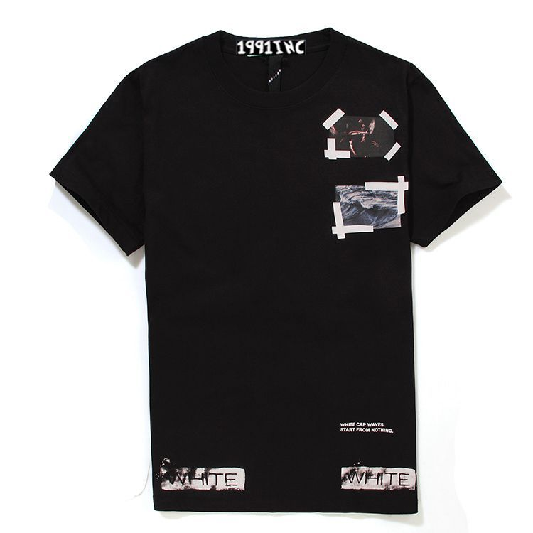 2015 Summer style European and American brands OFF-WHITE&pyrex tops tee White line waves Eagle Print Men's short sleeve t shirt(China (Mainland))